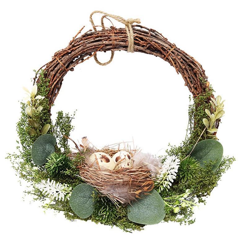 Guirnalda de Pascua Hoja de eucalipto artificial y guirnalda de la puerta de la puerta del nido de pájaro para el cumpleaños Decoración de la fiesta de bodas