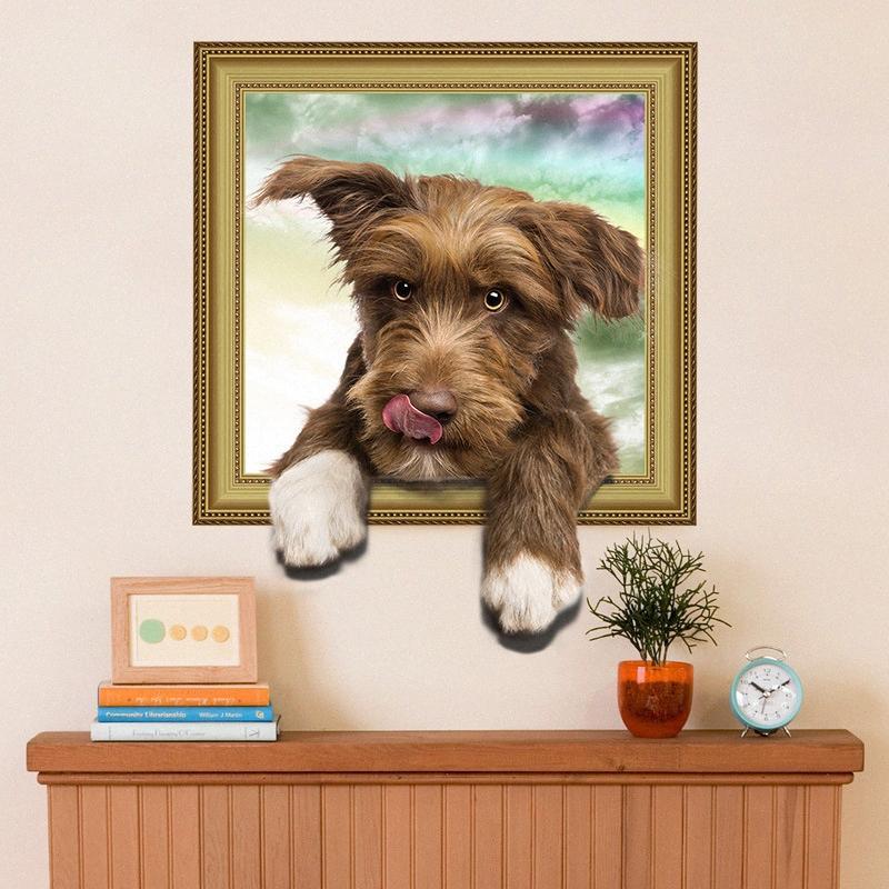 simulation de fond d'écran 3D cadre photo faux chien mignon garçon fille chambre salon chambre stickers muraux décoratifs muraux seOA #