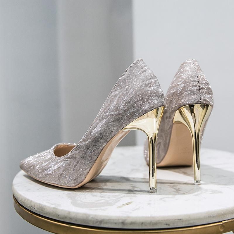 Rimocy los zapatos del partido elegantes para mujeres de los talones de estilete de plata del brillo bombas de la mujer en punta del dedo del pie zapatos de boda de tacón alto Mujer Bling