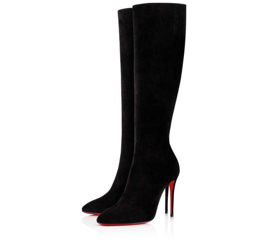 Элегантный Winter Brands Женщины Red Bottom Boots Элоиза Ботта Bottes Колено сапоги на высоких каблуках Lady Combat пинетки Party, Wedding EU35-43
