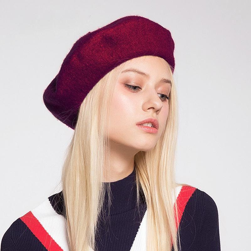 95٪ الصوف قبعة قبعة المرأة شعرت البيريه النمط البريطاني أزياء الفتيات قبعة سيدة الصلبة اللون slouchy الشتاء القبعات الإناث