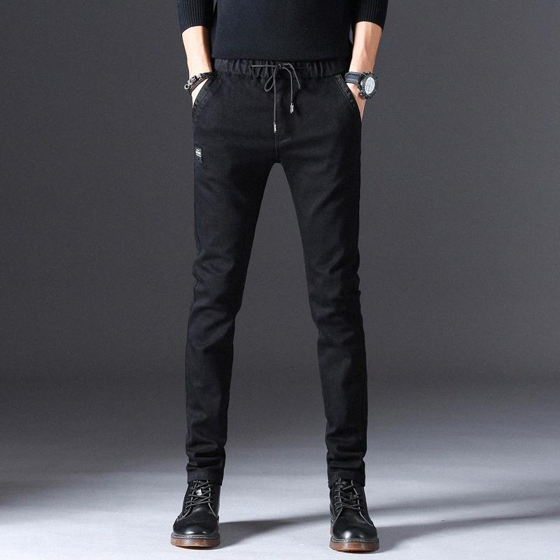 Männer Schwarze Jeans 2019 Frühling Hop Hop dünne zerrissene Stretch Slim Fit gerade Hosen-Mann-beiläufige elastische Jeans plus Größe f0Ie #
