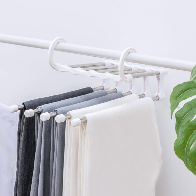 5 طبقات متعددة شماعات الملابس الوظائف بانت تخزين القماش الرف السراويل شنقا الجرف عدم الانزلاق الملابس المنظم تخزين الرف EWB2095