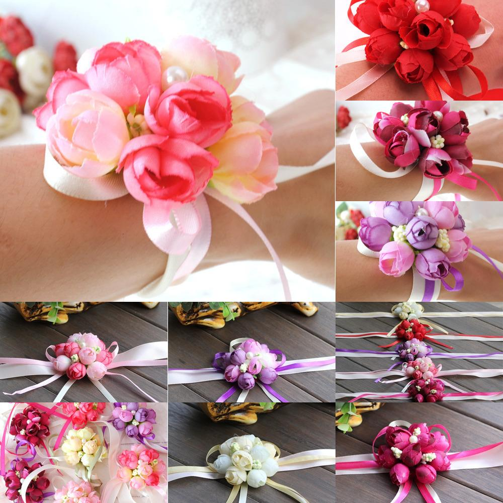 Hermanas Wholsesle Mano Muñeca Corsage Artificial Dama de honor de seda Flores de novia para la decoración de la fiesta de bodas PROM 2 NSZG2