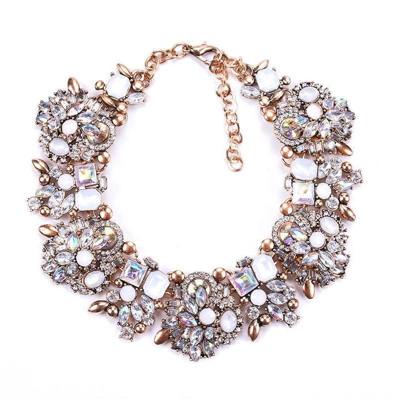 Charm Hrinestone Цветы Ожерелья для Женщин Мода Кристалл Ювелирные Изделия Choker Заявление на нагрудник Ожерелье 2020