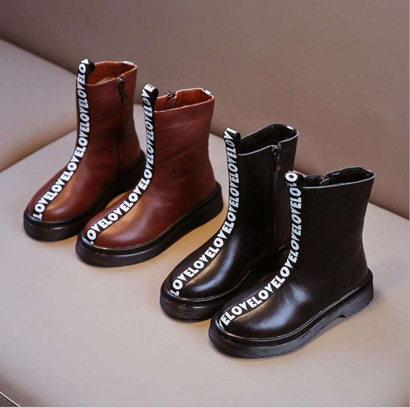 Fashion hot sale new high-quality leather side zipper mid-tube neutral boy and girl Martin boots casual shoes