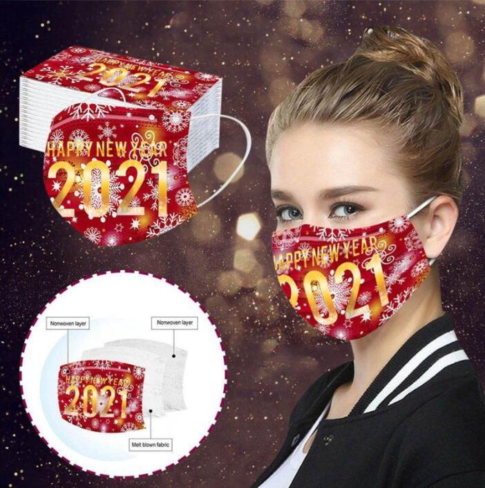 Adulte Face Masques Bonne année Imprimer la couverture de la bouche 3 couches masques jetables à la poussière masque de protection respirant à la poussière Masque jetable FWC3318