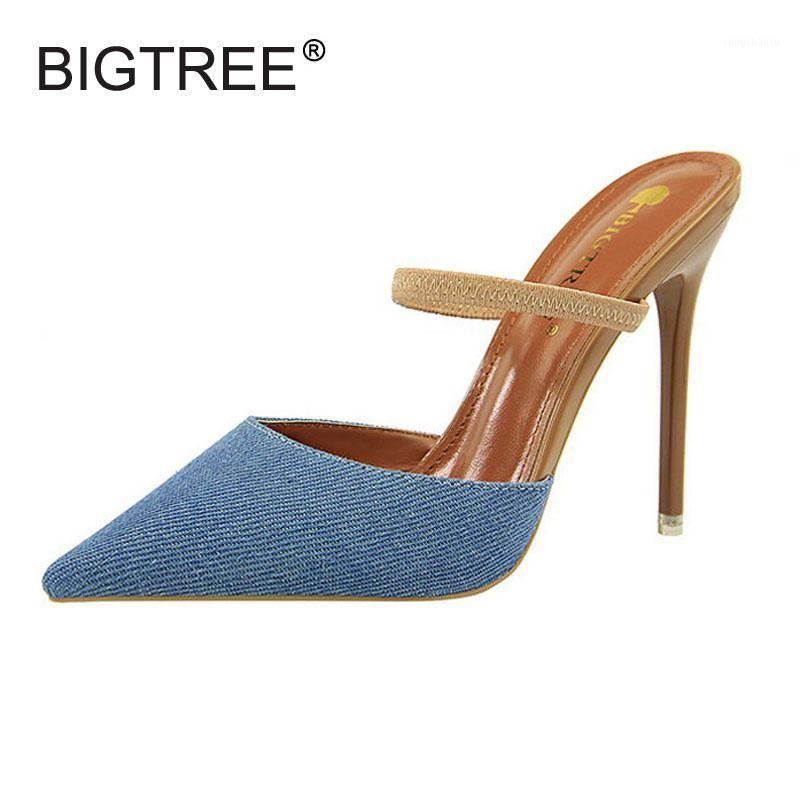 Sexy apontou toe fina salto alto mulheres chinelos nova moda jeans canvas lona slides para mulheres femininas duas maneiras verão sandálias sapatos1