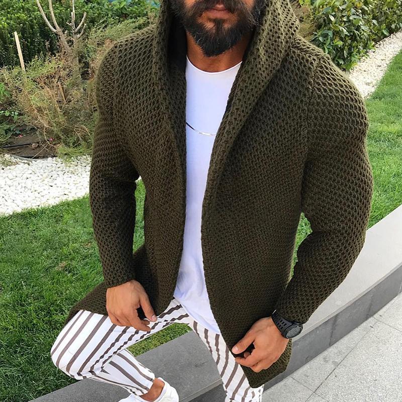 Moda Casual malha Cardigans de New Arrivals Homens cor sólida Hoodies de mangas compridas Slim Fit Camisolas inverno quente Coats Jackets