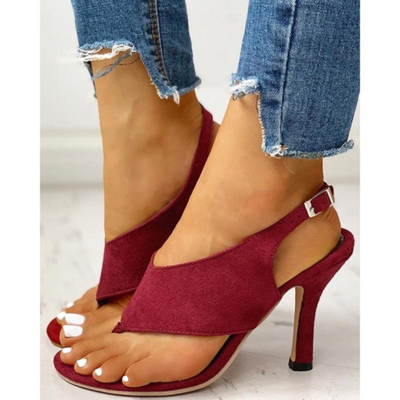 Sandales femmes minces talons hauts flip-flop chaussures décontractées été mode peep toe mariage