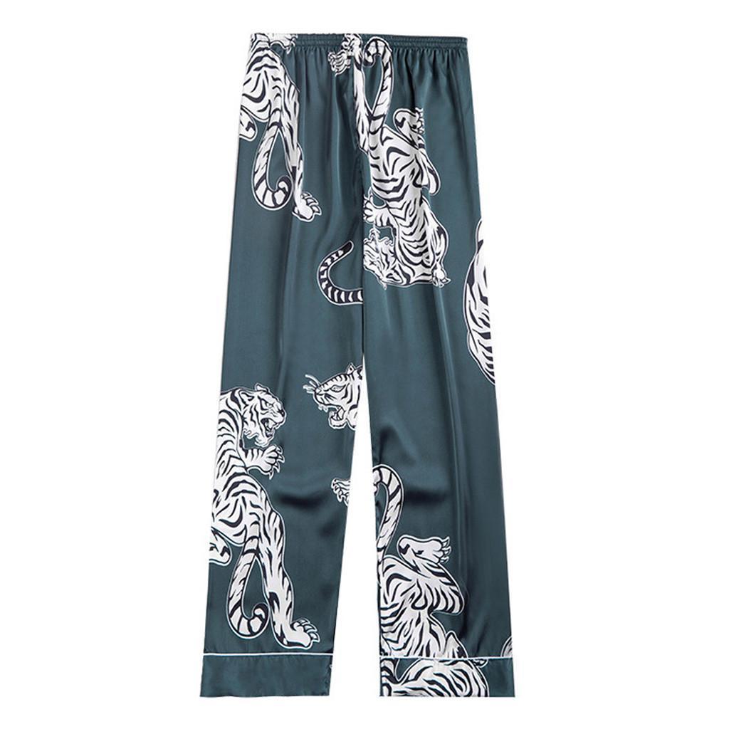 JAYCOSIN Erkek pijamalar Bottoms Yaz Sonbahar Kış Erkek İpek Pijama Uzun Uyku Pantolon adam Polyester Aplikler pantolon 201.109 yazdır