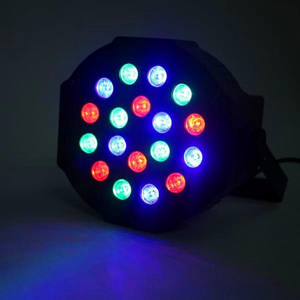 Новый дизайн 30W 18-RGB светодиодный движущийся головной свет Автомобильный / голосовой контроль DMX512 Высокая яркости Мини-сценическая лампа (AC 110-240V) Black * 2 Party