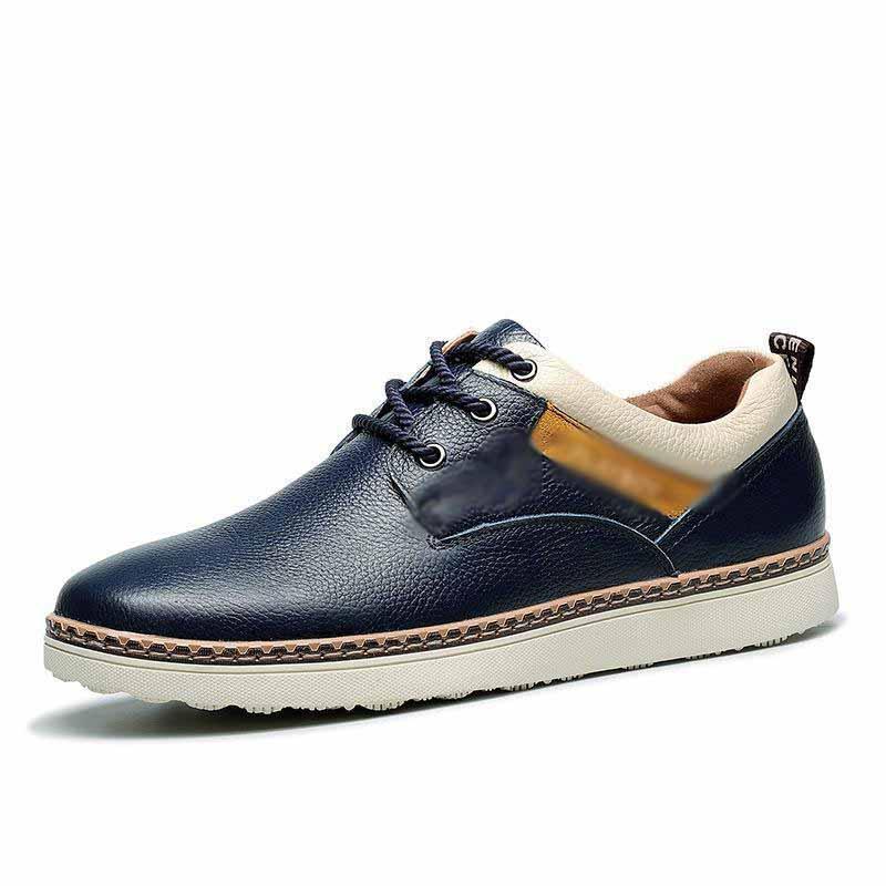Cuir véritable homme Souliers simple Toe Mode rond Oxfords Chaussures pour hommes Nouveau design des appartements confortables en cuir