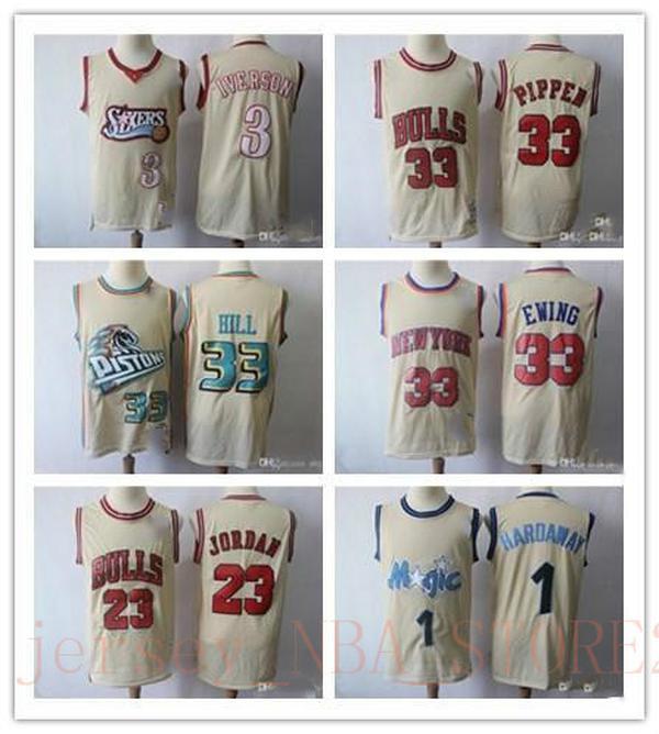 NCAA MENS 1 HARDAWAY 33 OWEN 23 Michael Iverson 3 Hill 33 Pippen 33 Beige Basketball Jerseys