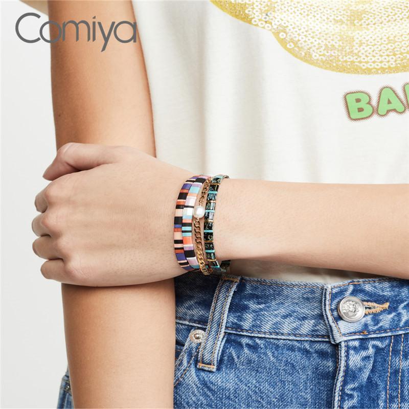 Comiya Fashion Bracelets pour Femme Gold Couleur Alliage de zinc Liens Pulseira Femme Big Acrylic Pearls Accessoires Bijoux1