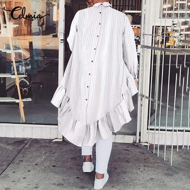 Celmia Fashion Camicie lunghe Autunno Donne Ruffled Patchwork a strisce Blouse Blouse Blouse Posteriore Manica lunga Casual Tops Ladies Bavero Camicia1