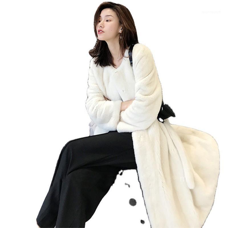 Veste d'hiver Femmes 2020 Mode nouveau plus Taille Taille longue Ceinture haut de gamme Chaud Parker Parker Pure Couleur Pure Mink Blanc Noir Long Coat1