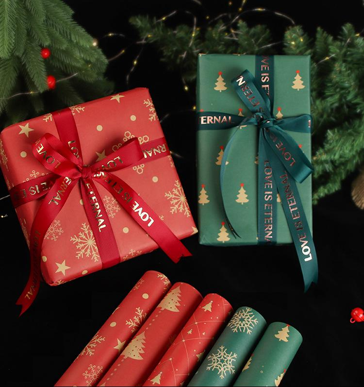 Christmas Wrapping Paper New Year Kraft Paper with Red and Green Pattern Holiday Wrapping Paper Set DIY Gift Packaging Box 1 Set/10 PCS