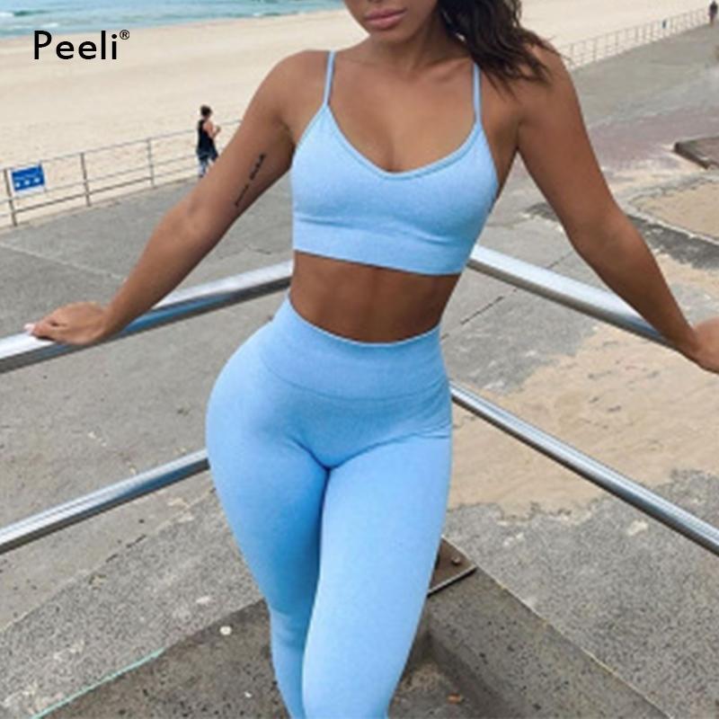 2 шт. Набор бесшовные женские тренажерный зал тренировки йога набор фитнес спортивный костюм с коротким рукавом урожайные вершины высокой талии шорты легинги Y200904