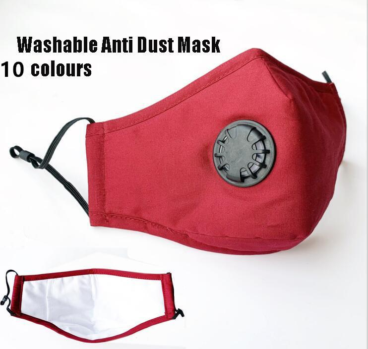Washable Anti Dust Mask with valve mask Windproof Mouth-muffle Bacteria Proof Cotton PM2.5 Mask Mouth Anti-fog Haze Keep Warm Face Care