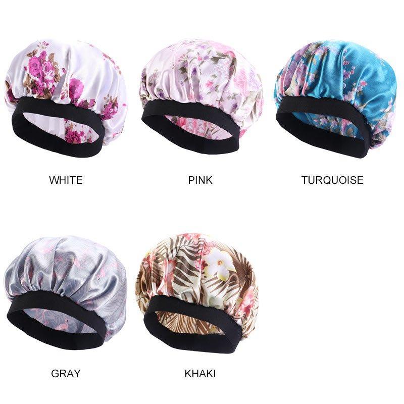 15 Farben Breite BRANTED SATIN NIGHTCAP Drucken Motorhaube für schöne Haare Große Größe Sichern Runder Schlafhut