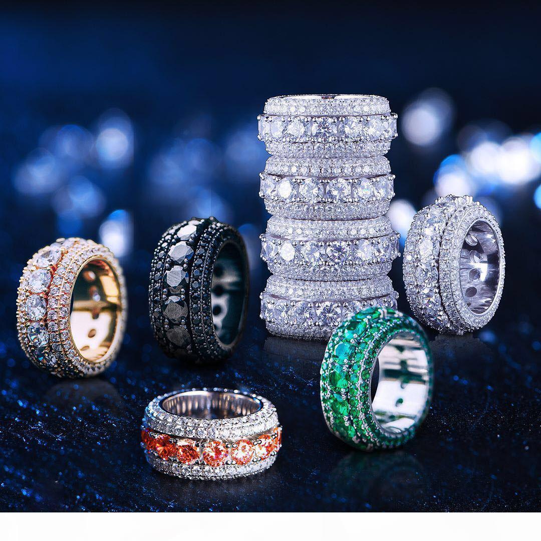 2019 Hip Hop Mens Gold Ring Euro Ringe Micro Pave Cubic Zirkon Versprechen Diamant Finger Ringe Luxus Designer Marke Persönlichkeit Geschenk