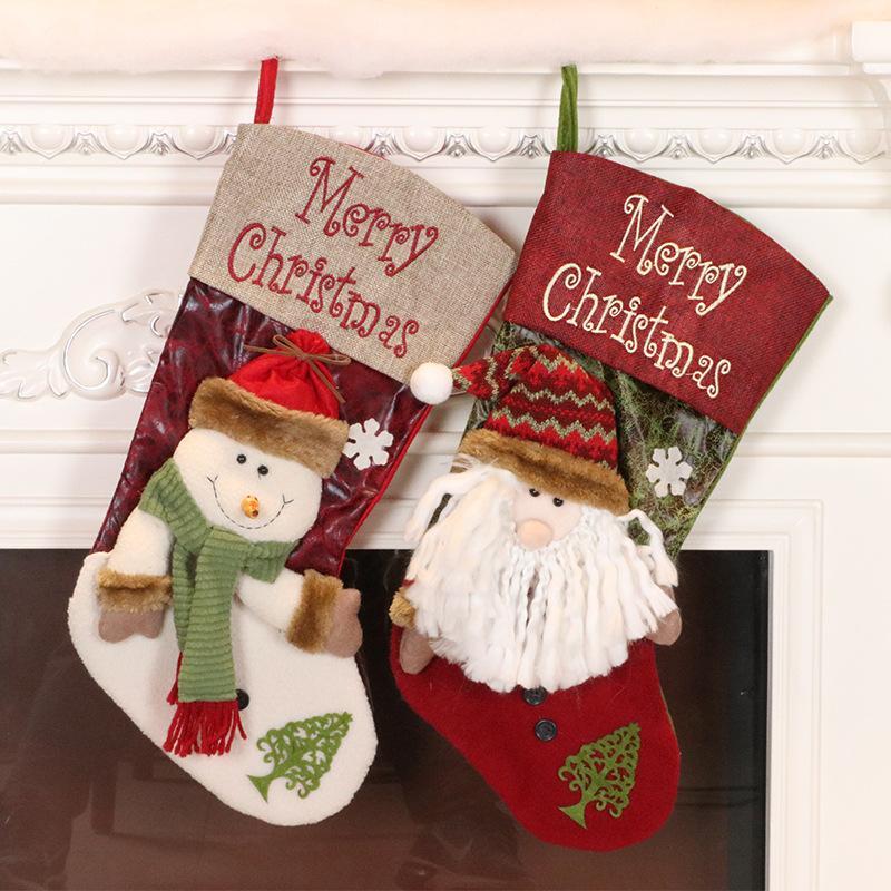 Творческое украшения рождественской елки Подвеска Рождественский чулок Рождественский вечер мешок подарка Большие конфеты носки Dropshipping F6201