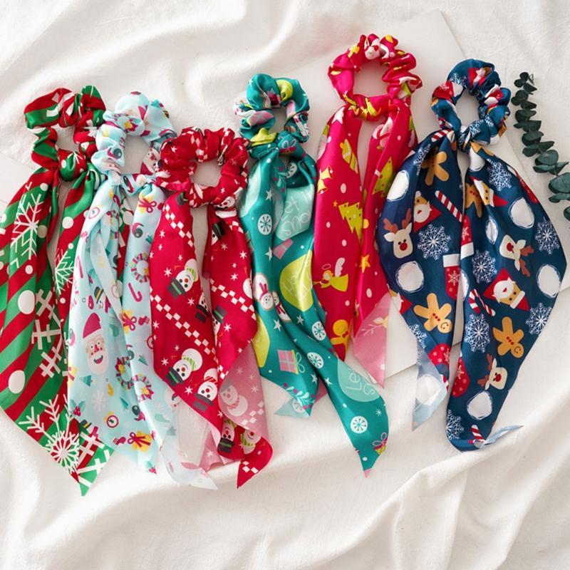 Аксессуары для волос Рождественские зрелицы с длинной лентой лук шарф милый снежинка Санта Снеговик Печать эластичные галстуки хвостик держатель