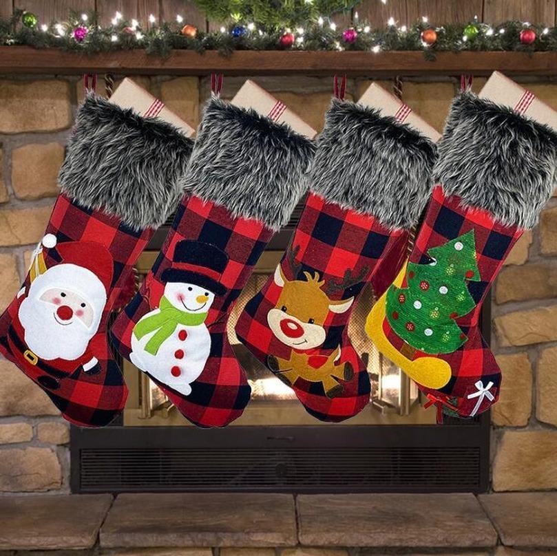 Plüsch-Weihnachtsstrumpf-Geschenk-Beutel-große Latticed Candy Bag Xams-Dekoration Socken Ornament Weihnachten Geschenkpapier