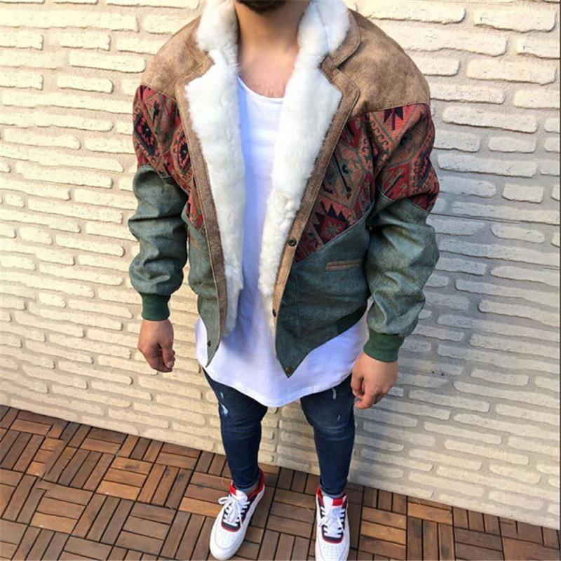 U2021s pelle scamosciata cucitura cappotto di pelliccia a colori con risvolto a maniche lunghe a maniche lunghe bottoni in pile cappotti giacche inverno caldo outwear