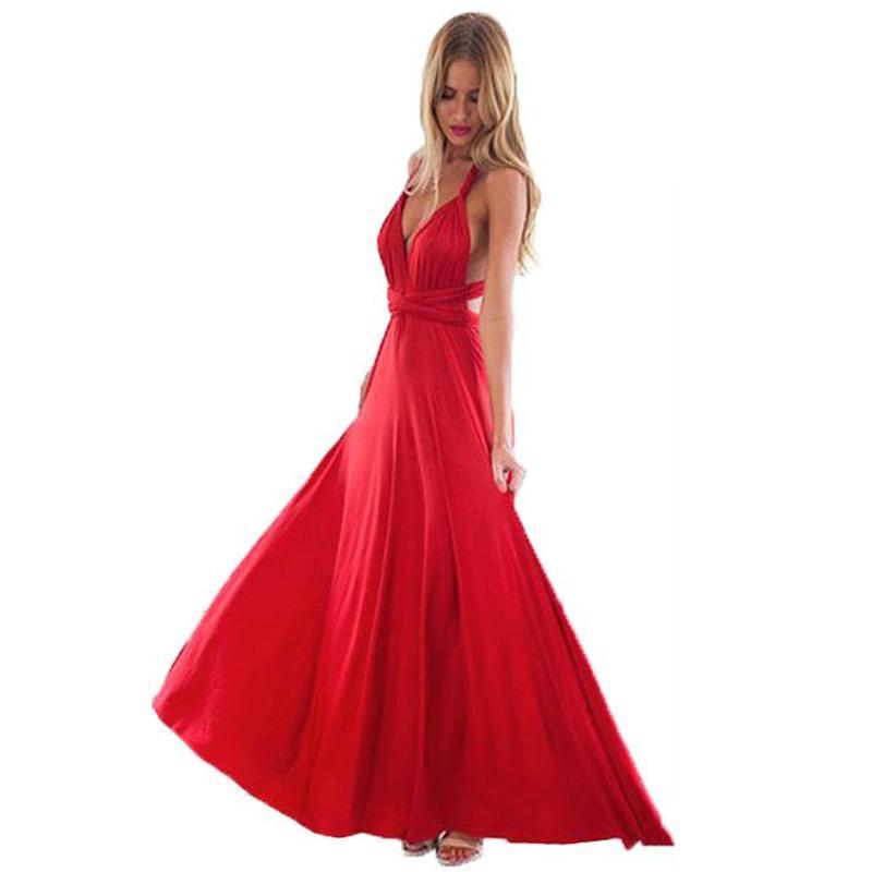 Sexy Women Wrap Wrap Convertible Boho Maxi Club Red Vestido Vendaje Largo Vestido Mujeres Partido Dama de honor Infinity Damas Vestidos X0521