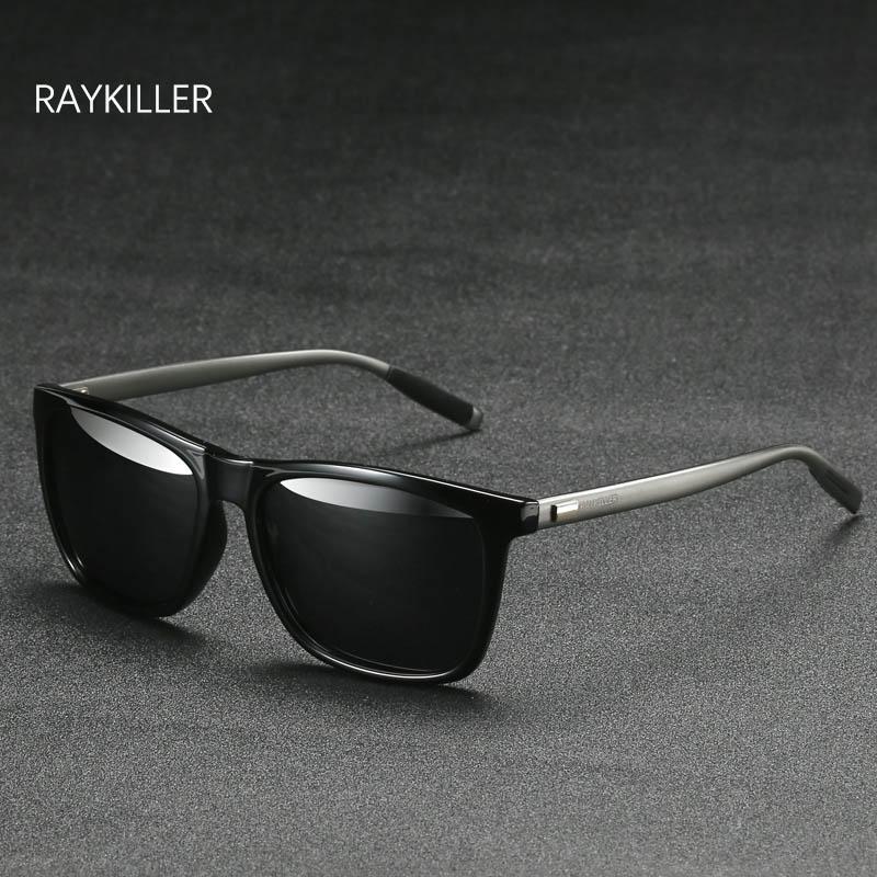RAYKILLER Kare Sunglasses erkek Polarize Aynalı objektif Gözlük UV400 Açık Gözlük İçin Case Kadınlar Sürüş