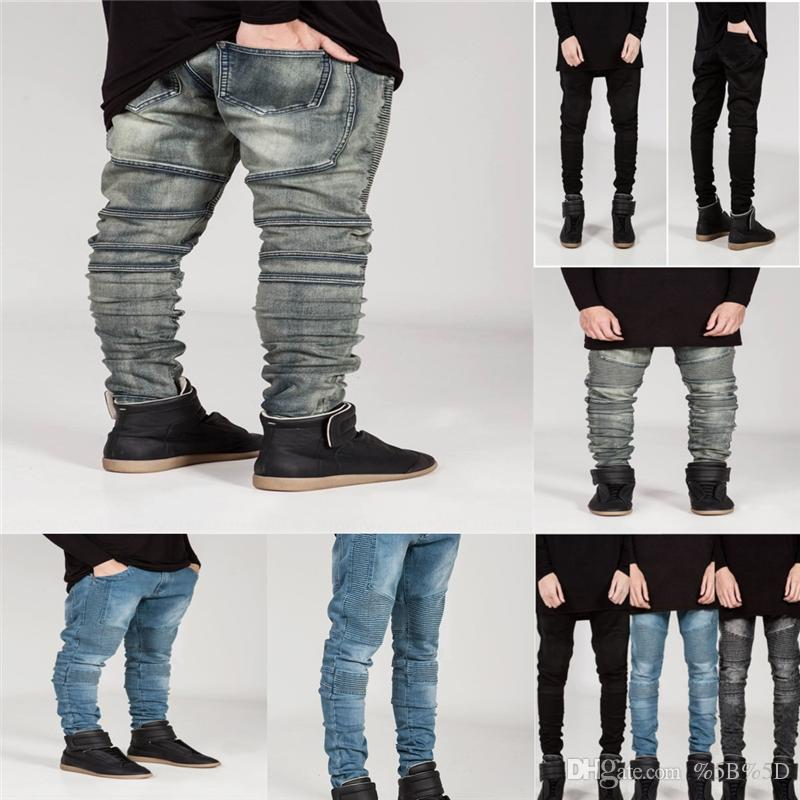 8Pe Hot Mens Casual Jeans Men New Skinny Jeans Fashion Biker Denim kid Skinny Pants short jeans for Overall Patchwork