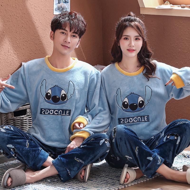 Inverno Flannel Pigiama Set per Donne Man Stitch Panda Cartoon Pijamas Mujer Casa Abbigliamento Abiti Abiti a maniche lunghe Calda Pigiama Sleepwear