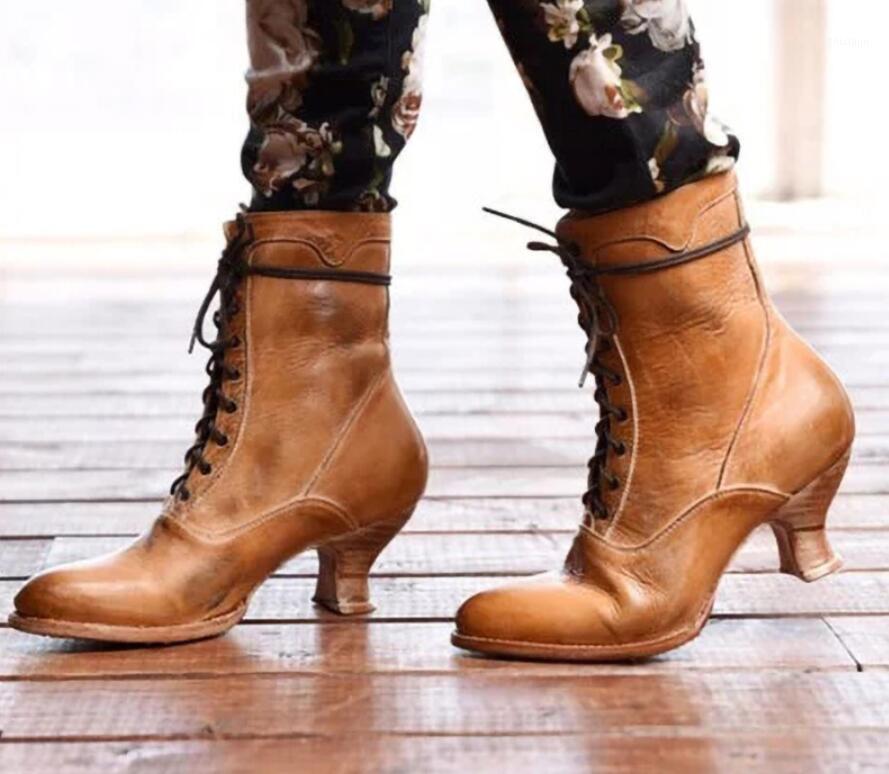 Женщины Boots Boots Большой размер MED Med каблуки на шнуровке ботинки Booties Gladiator Vintage PU кожаный круглый носок обувь Botas Mujer1