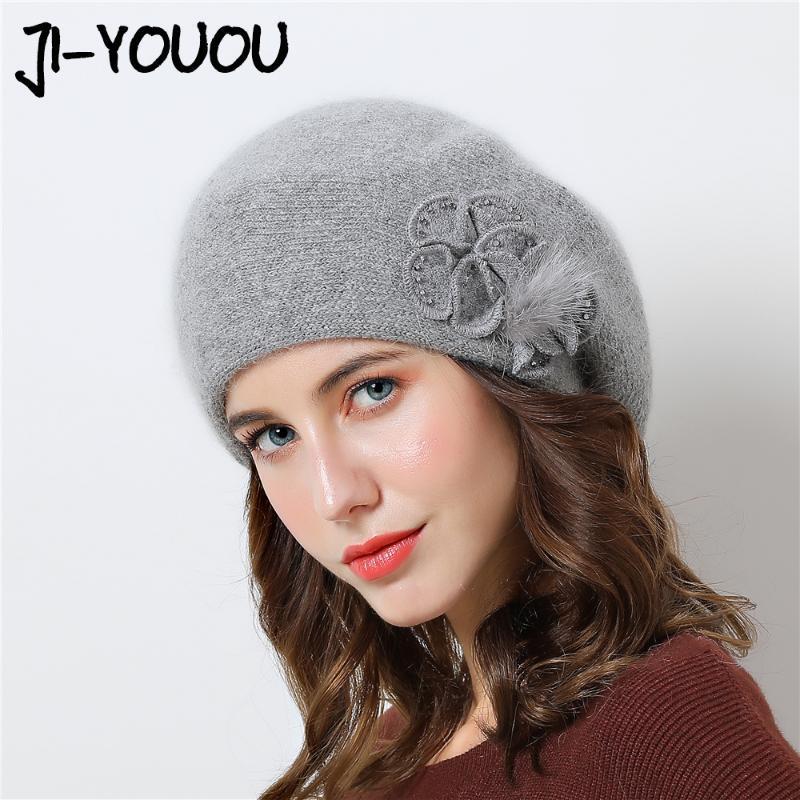 비니 / 두개골 모자 더블 레이어 디자인 겨울 모자 여성 모자 모피 따뜻한 니트 큰 꽃 캡 비니 2021