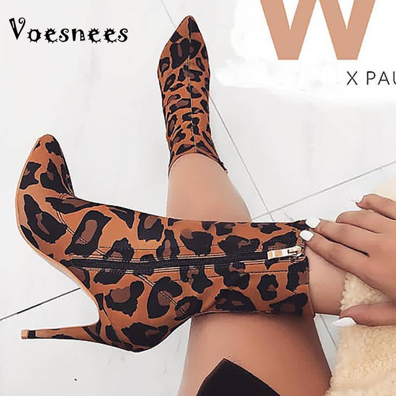 Bottes courtes pour femmes vesnees 2021 Nouvel automne hiver pointu pointu d'imprimé léopard Bottines de cheville féminin Fermeture fermeture à glissière mince talons hauts