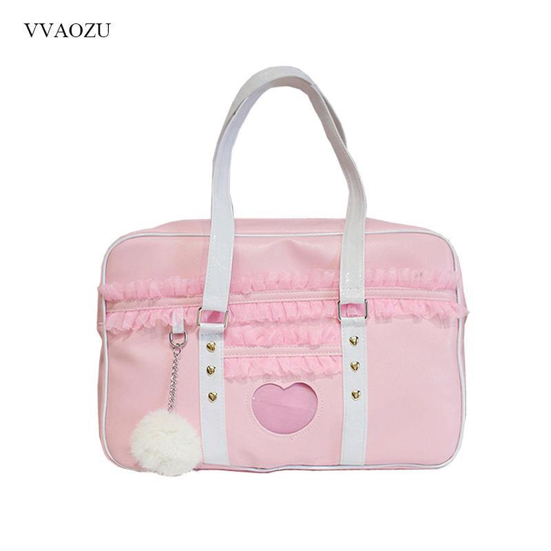Japan Harajuku Kawaii Shoulder Women JK Lace Ruched Handbag Lolita Transparent Heart Hand Bag with Plush Pendant Q1230