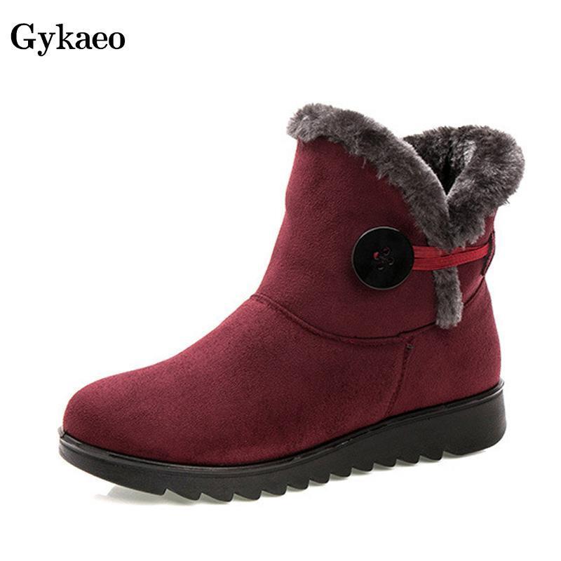 Gykaeo Anne Yumuşak Düz Tabanlı Kürk Boots Kadınlar Kış Sıcak Ayakkabı Bayanlar Casual Peluş Kar Boots Kadın Botaş Mujer Invierno 2020