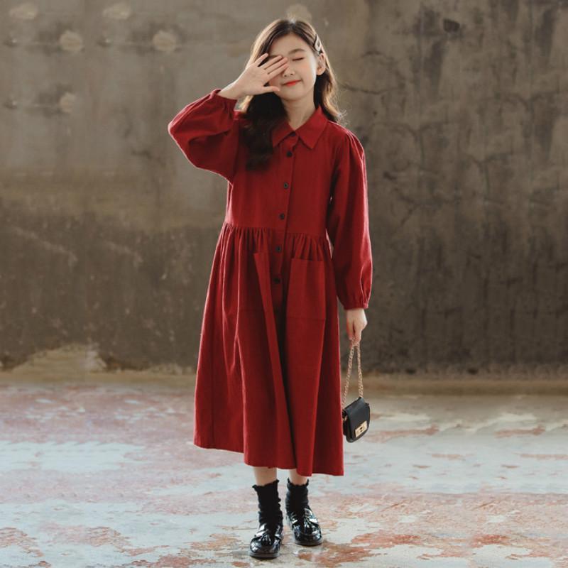 Nova Queda 2.020 crianças Natal roupas miúdo vestido de algodão vestido retro Procket Meninas Midi longo Mommy and Me Roupa, # 9112