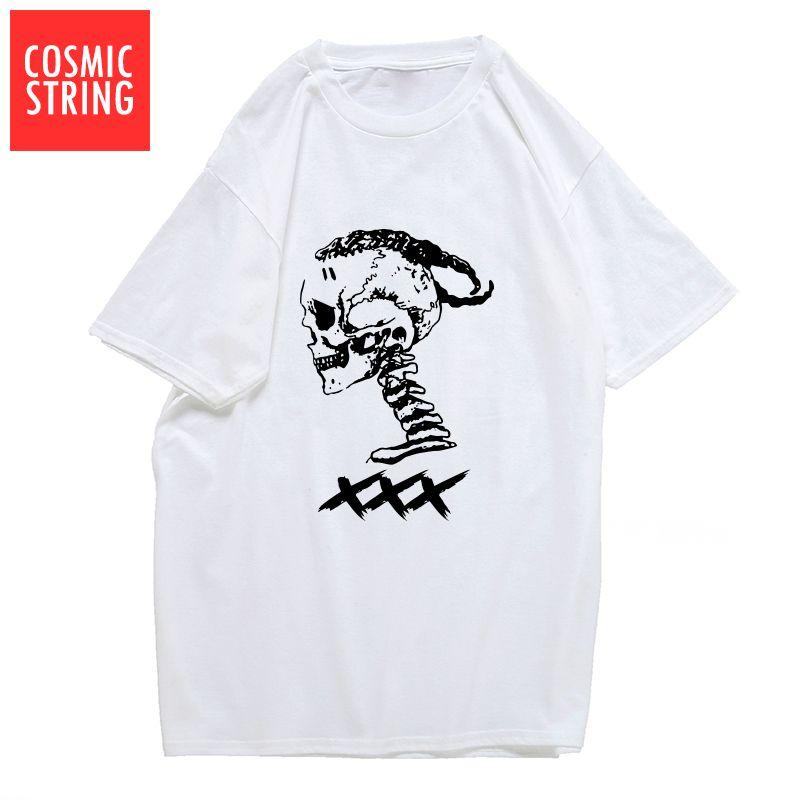 esporte COSMIC STRING 100% homens xxxtentacion algodão legal do crânio impressão T camisa casual manga curta mens tshirt o-pescoço-shirt camisetas