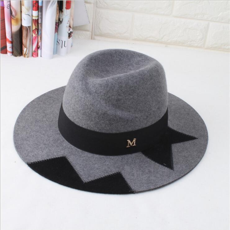 Geniş Ağız Şapka 100% Yün Yüksek Kalite Unisex Fedora Şapka Bölünmüş Ortak Sıcak Rahat Erkekler Kadınlar için Serin Güzel Mektup