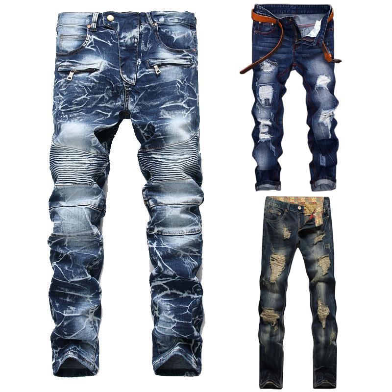 Homens de alta qualidade Casual rasgado lavado reto slim plissado motocicleta motocicleta calça calças calças masculinas denim calças plus size 42
