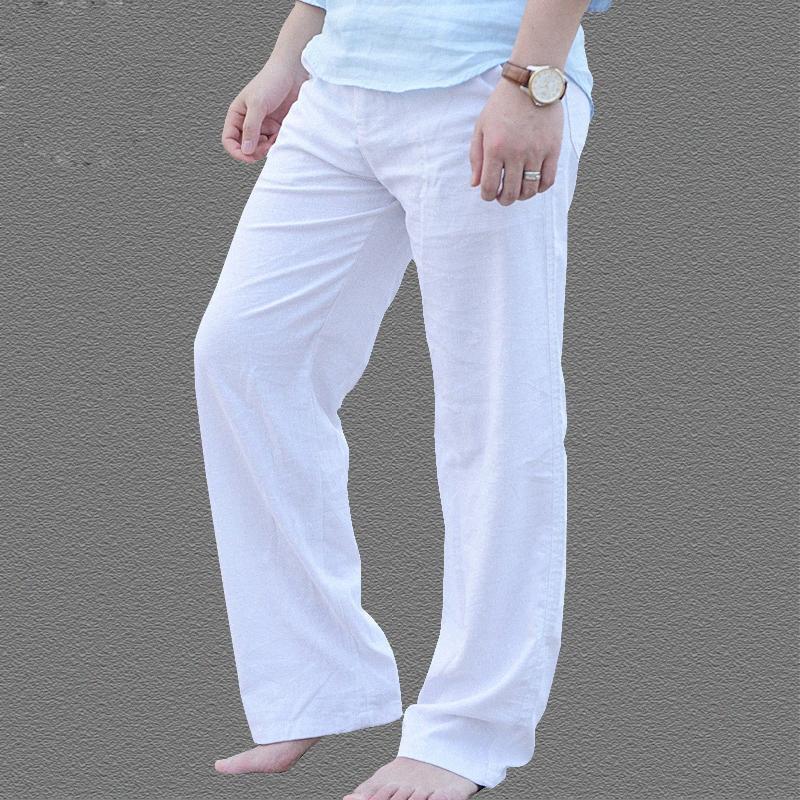 Verano Pantalones ocasionales de los hombres de algodón de lino natural de los pantalones blancos de lino elástico de la cintura de los pantalones rectos 56Qj #