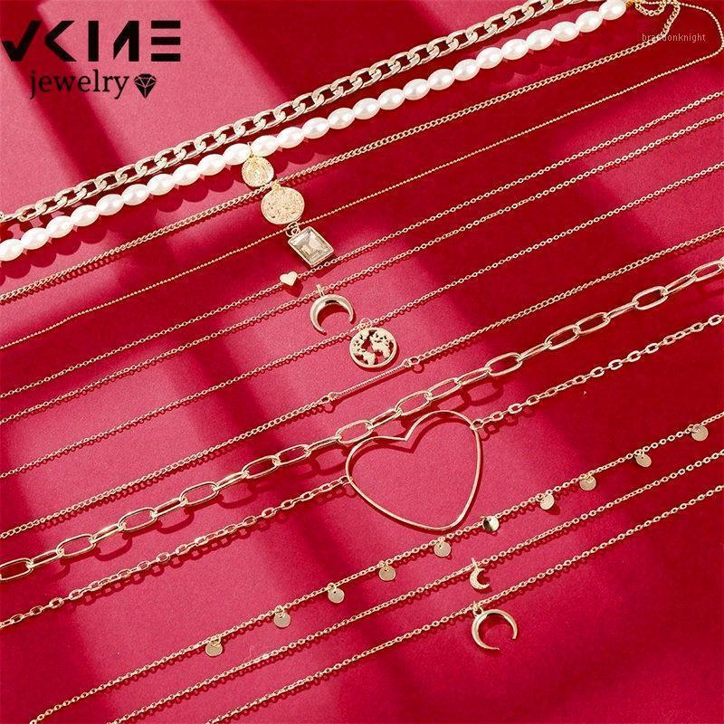 Vkme Vintage Gold Halskette Frauen Schmetterling Halskette Schmuckkette Perle Herz Mond Anhänger 2020 Neue Party Geschenk1