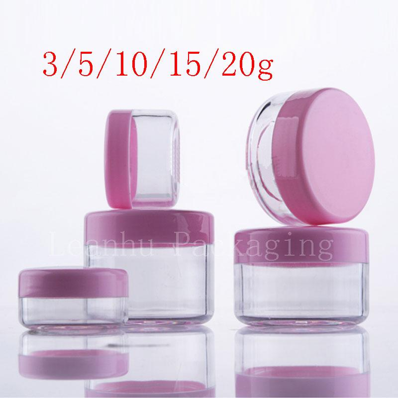 3g 5g 10g 15g 20g Empty Pink Small Plastic Display Jar Pot Cosmetic Cream Tin Balm Container Mini Sample Packaging