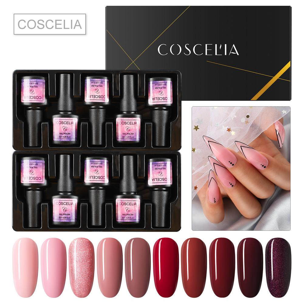 10PC Nail Gel 8ml Gel Polish UV polonês Verniz Glitter base e de topo Semi permanant UV Art Manicure Set