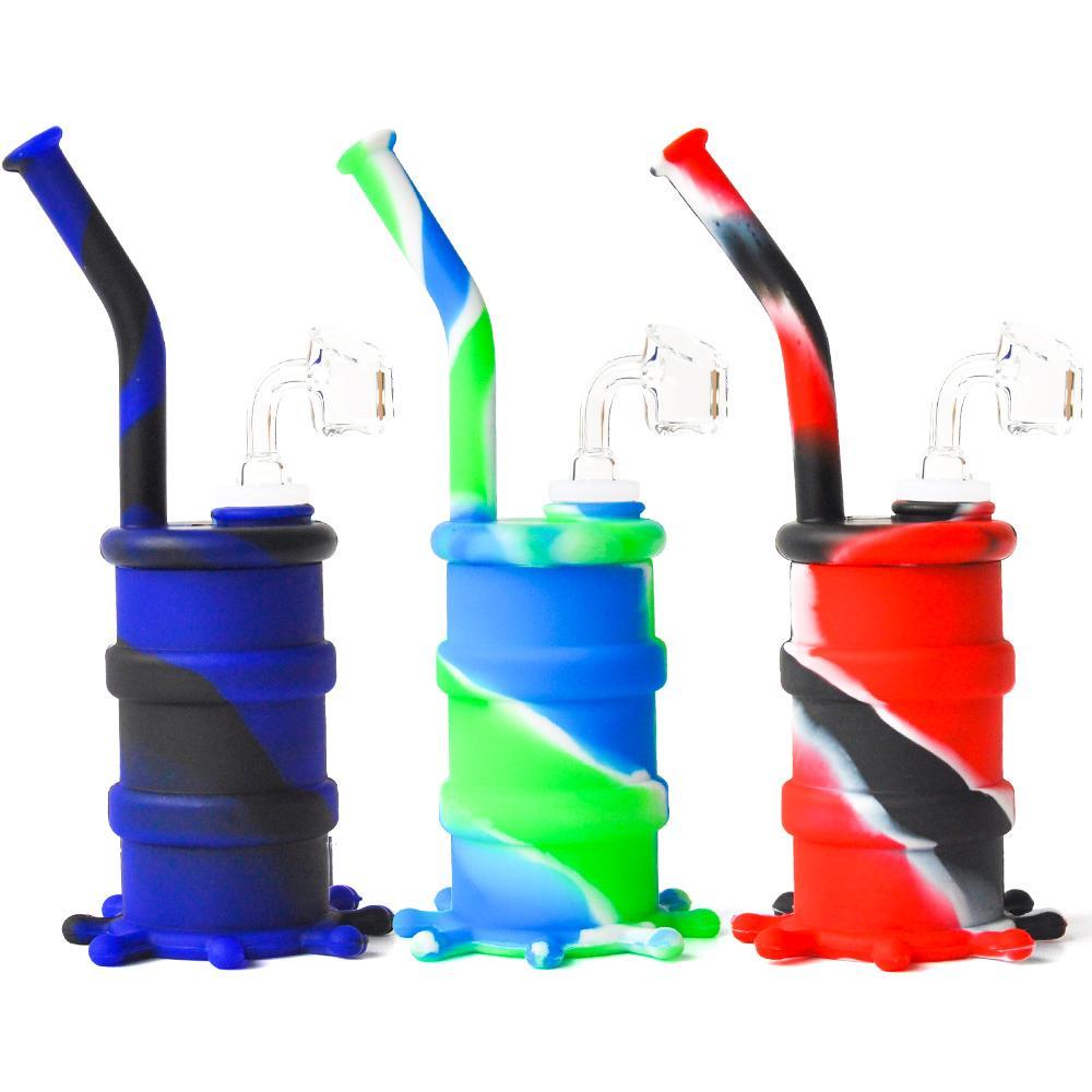 Tubo de agua de silicona de 8,0 pulgadas con 4 mm Banger de cuarzo y cáscara de vidrio Tubería de agua de vidrio Bongs de silicona ocho colores envío gratis
