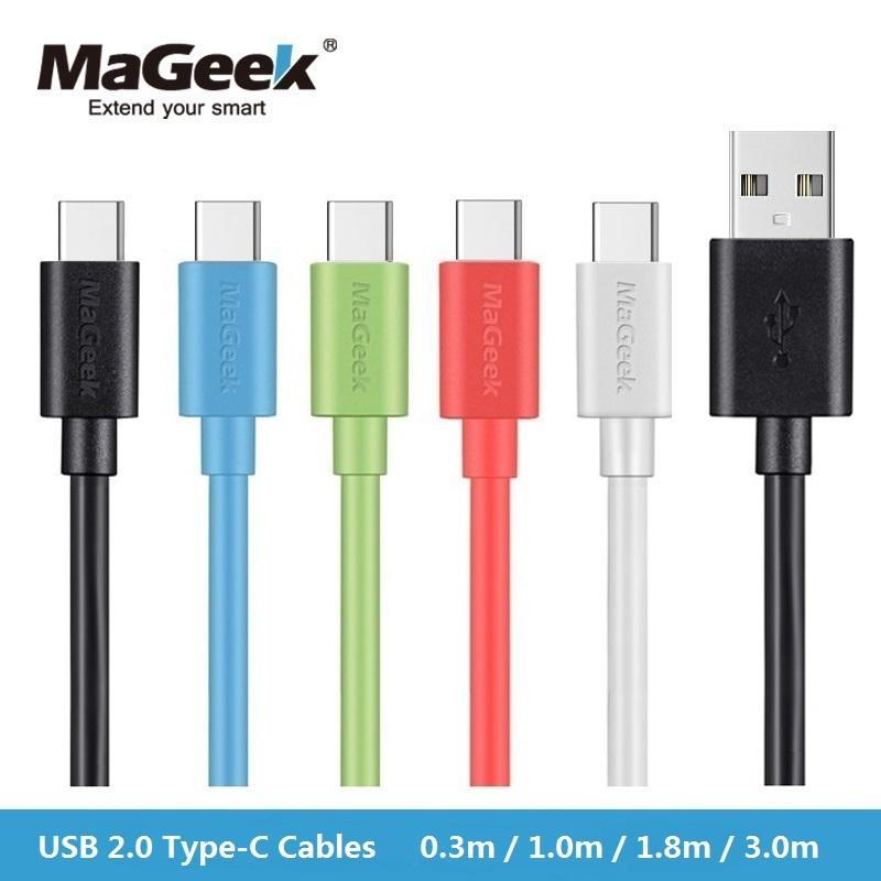 MaGeek USB-Typ-C-Kabel 0,3 m 1 m 1,8 m 3,0 m Fast Charge Kabel für Mobiltelefone USB-C-2.0-Kabel für Samsung S8, Huawei P9, Xiaomi