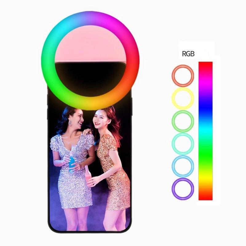 RGB Rechargeable selfie ring light Clip LED selfie flash light adjustable lamp selife fill-light for phone Huawei